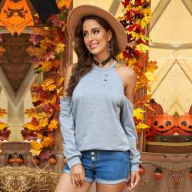 Women's Solid Color Ripped Off-shoulder Long-sleeved Round Neck T-shirt Nihaostyles Clothing Wholesale NSSI79514