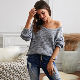 Women's Long-sleeved Solid Color Hollow V-neck Loose Sweater Nihaostyles Clothing Wholesale NSSI79520