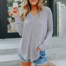 Women's Solid Color V-neck Buttoned Long-sleeved Sweater Nihaostyles Clothing Wholesale NSSI79523
