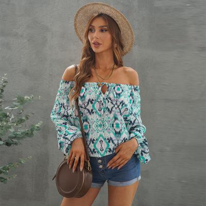 Women's Off-shoulder Printed Lantern Chiffon Shirt Nihaostyles Clothing Wholesale NSSI79525