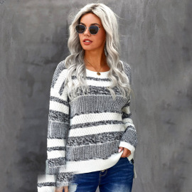 Women's Striped Contrast Color Round Neck Casual Knitted Top Nihaostyles Clothing Wholesale NSSI79531