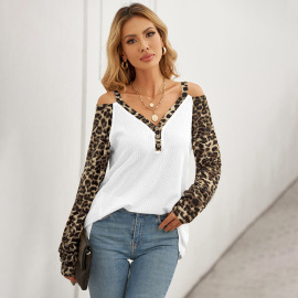 Women's Leopard Stitching Off-shoulder Sweater Nihaostyles Clothing Wholesale NSSI79534