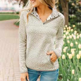 Women's Leopard Print Pockets Sweatshirt Nihaostyles Clothing Wholesale NSSI79538