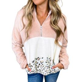 Women's Leopard Print Zipper Plush Hoodie Nihaostyles Clothing Wholesale NSSI79539