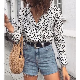 Women's Leopard Print Lapel Long-sleeved Shirt Nihaostyles Clothing Wholesale NSSI79541