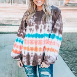 Women's Printed Round Neck Lantern Sleeves Tie-dye Sweater Nihaostyles Clothing Wholesale NSSI79542