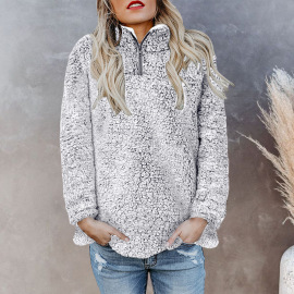 Women's Solid Color Zipper Double-sided Fleece Sweater Nihaostyles Clothing Wholesale NSSI79544