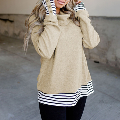 Women's Striped Stitching High Neck Sweater Nihaostyles Clothing Wholesale NSSI79543