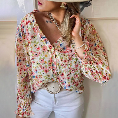Women's Floral V-neck Breasted Lantern Sleeve Chiffon Shirt Nihaostyles Clothing Wholesale NSSI79546