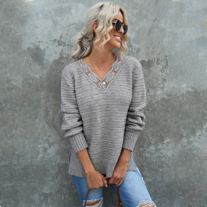 Women's Solid Color Slit Lace Stitching V-neck Sweater Nihaostyles Clothing Wholesale NSSI79550