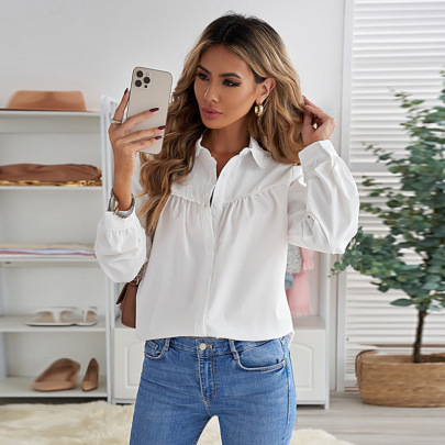 Women's Solid Color Lace Stitching Folds Shirt Nihaostyles Clothing Wholesale NSSI79552