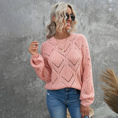 Women's Solid Color Round Neck Lantern Sleeve Hollow Sweater Nihaostyles Clothing Wholesale NSSI79553