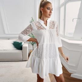 Women's Lace Hollow Stitching Ruffled V-neck Dress Nihaostyles Clothing Wholesale NSSI79555