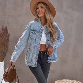 Women's Ripped Breasted Pocket Denim Jacket Nihaostyles Clothing Wholesale NSSI79558