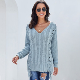 Women's Twisted Flower Solid Color V-neck Sweater Nihaostyles Clothing Wholesale NSSI79564
