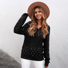 Women's Fish Scale Embroidery V-neck Breasted Long-sleeved Solid Color Sweater Nihaostyles Clothing Wholesale NSSI79565