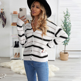 Women's Striped Breasted V-neck Knitted Cardigan Nihaostyles Clothing Wholesale NSSI79569