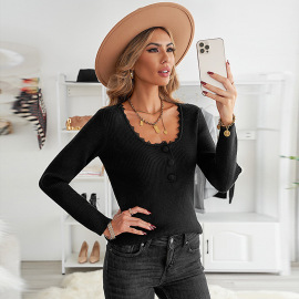 Women's Solid Color Lace Stitching Sweater Nihaostyles Clothing Wholesale NSSI79570