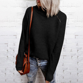 Women's Solid Color High Neck Zipper Long Sleeves Sweater Nihaostyles Clothing Wholesale NSSI79571