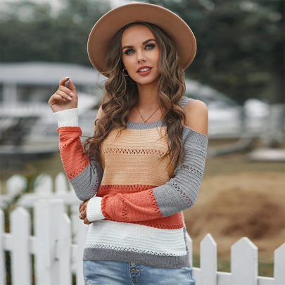 Women's Off-shoulder Stitching Sweater Nihaostyles Clothing Wholesale NSSI79572