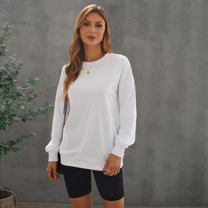 Women's Solid Color Round Neck Lantern Sleeve Loose Sweatshirt Nihaostyles Clothing Wholesale NSSI79574