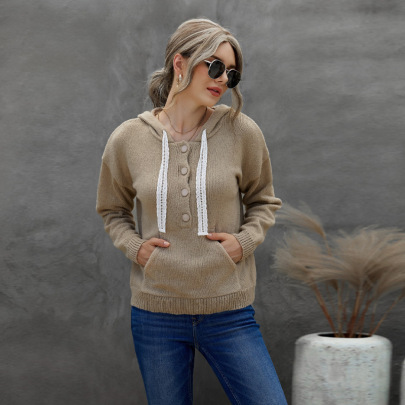 Women's Solid Color Hooded Lace String Sweater Nihaostyles Clothing Wholesale NSSI79575