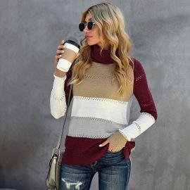 Women's Hollow Stitching Turtleneck Sweater Nihaostyles Clothing Wholesale NSSI79578