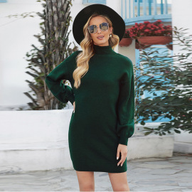 Solid Color Turtleneck Lantern Sleeve Knitted Dress Nihaostyles Clothing Wholesale NSSI79579