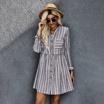 Women's V-neck Striped Button Long Sleeve Shirt Dress Nihaostyles Clothing Wholesale NSSI79581