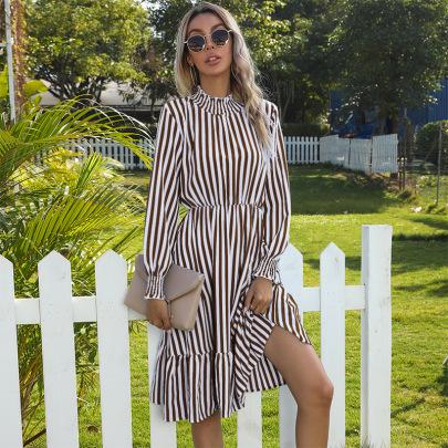 Women's Mid - Length Vertical Stripe High Collar Dress Nihaostyles Wholesale Clothing NSDMB79589