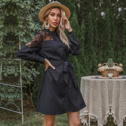 Women's Black Retro Hollow Lace Stitching Mid-length Belted Shirt Dress Nihaostyles Wholesale Clothing NSDMB79592