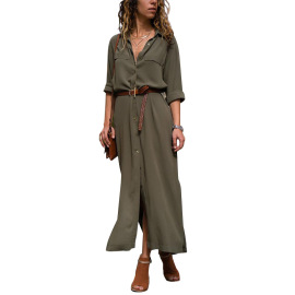 Women's Clothing Solid Color Single-breasted Mid-length Dress Nihaostyles Wholesale Clothing NSDMB79593