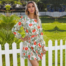 Women's Round Neck Flower Print  Long-sleeved Belted Ruffle Dress Nihaostyles Wholesale Clothing NSDMB79594