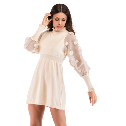 Women's Long-sleeved Net Yarn Knitted A-line Dress Nihaostyles Wholesale Clothing NSDMB79597