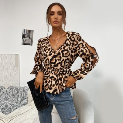 Women's V-neck Hollow Long-sleeved Leopard Print Pullover Shirt Nihaostyles Wholesale Clothing NSDMB79600