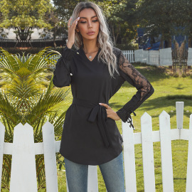 Women's V-neck Long-sleeved Lace Stitching Lace-up Pullover Shirt Nihaostyles Wholesale Clothing NSDMB79602