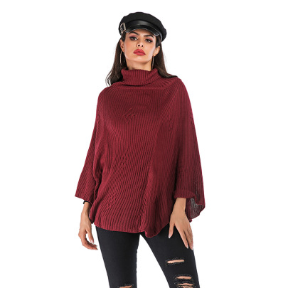 Women's High Neck Bat Sleeve Casual Pullover Sweater Nihaostyles Wholesale Clothing NSDMB79604