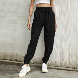 Women's High Waist Loose Solid Color Casual Pants Nihaostyles Wholesale Clothing NSDMB79608