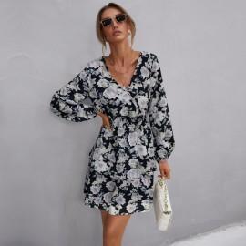 Women's V-neck Chiffon Print Elastic Dress Nihaostyles Wholesale Clothing NSDMB79614