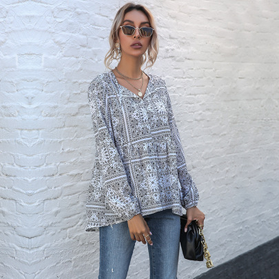 Women's Retro Print V-neck Fringe Chiffon Long-sleeved Blouse Nihaostyles Wholesale Clothing NSDMB79616
