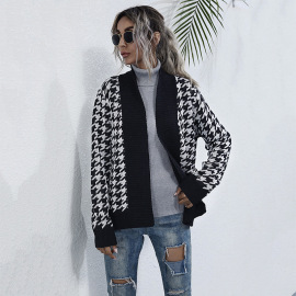 Women's Houndstooth V-neck Knitted  Long-sleeved Sweater Cardigan Nihaostyles Wholesale Clothing NSDMB79618
