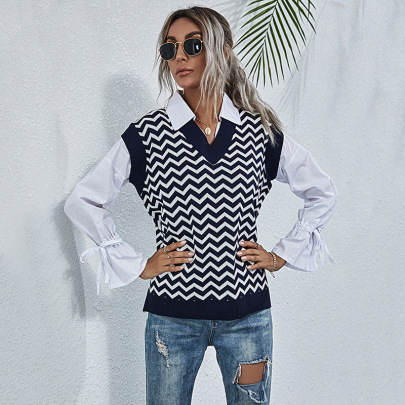 Women's V-neck Water Ripple Knitted Sleeveless Sweater Vest Nihaostyles Wholesale Clothing NSDMB79619