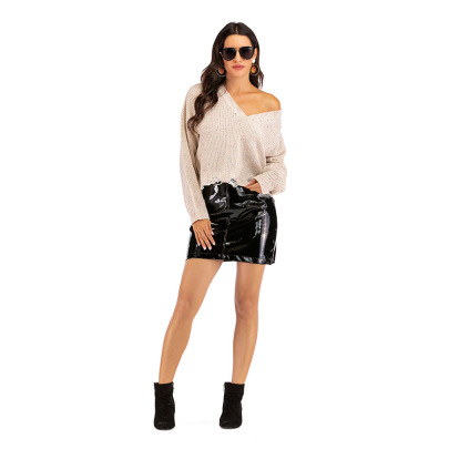 Women's  V-neck Distressed Long-sleeved Loose Sweater Nihaostyles Wholesale Clothing NSDMB79620