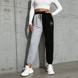 Women's Casual High-waist Stitching Drawstring Sports Pants Nihaostyles Wholesale Clothing NSDMB79621