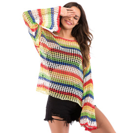 Women's Thin Rainbow Striped Hollow Casual Sweater Nihaostyles Wholesale Clothing NSDMB79625