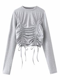 Women's Round Neck Slim Double Drawstring Pleated Stretch Top Nihaostyles Wholesale Clothing  NSAM79630