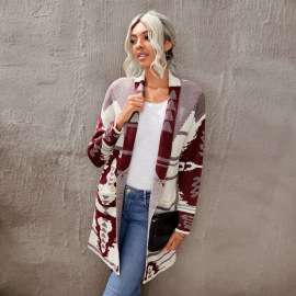 Women's Autumn Printed Button Cashmere Knitted Long Cardigan Nihaostyles Wholesale Clothing NSSI79634