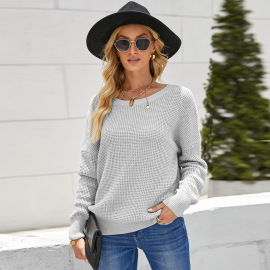 Women's Round Neck Halter Solid Color Knitted Sweater Nihaostyles Wholesale Clothing NSSI79636