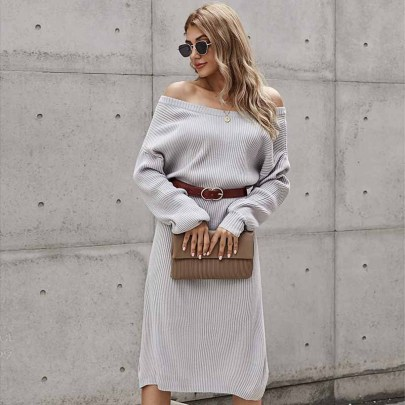 Autumn And Winter Women's Solid Color Back V-neck Long Knitted Sweater Dress Nihaostyles Wholesale Clothing NSSI79637