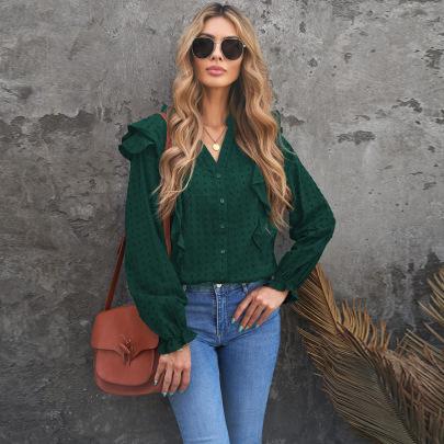 Women's Autumn Solid Color Jacquard Ruffled V-neck Chiffon Shirt Nihaostyles Wholesale Clothing NSSI79640